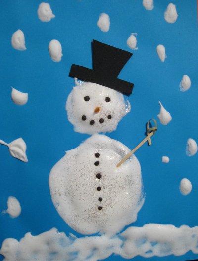 instant nostalgie de la classe maternelle : le bonhomme de neige