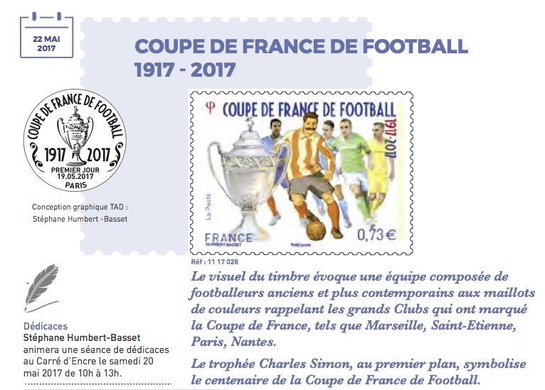Timbre france centenaire de la coupe de france de football 1917 2017 - La coupe de france de football ...