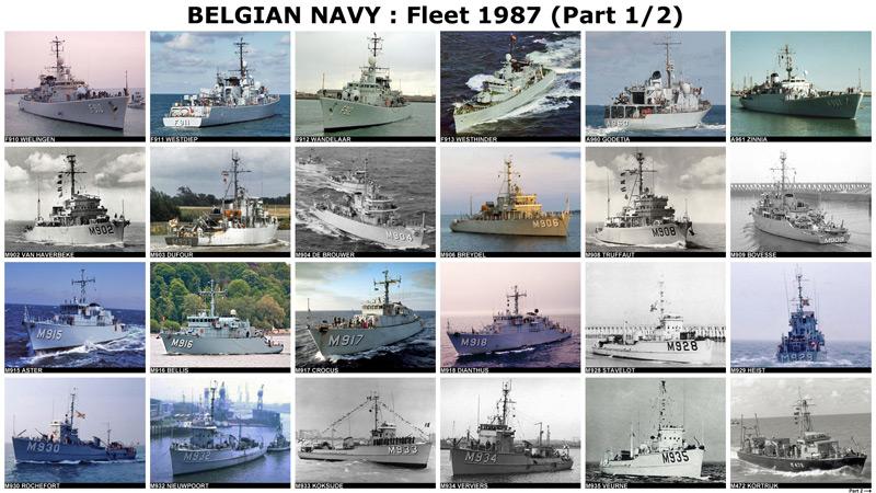 Vloot van de Belgische Zeemacht in 1987 - Flotte de la Force Navale belge en 1987