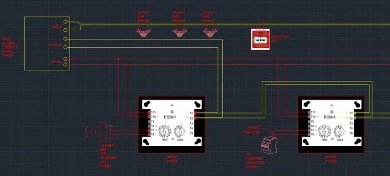 مخطط توصيلات الفاير  Fire alarm wiring