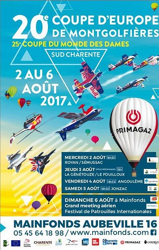 La 20ème Coupe d'Europe de Montgolfières 2017 ,Mainfonds Aubeville 2017, Meeting Aerien 2017, Airshow 2017, French Airshow 2017