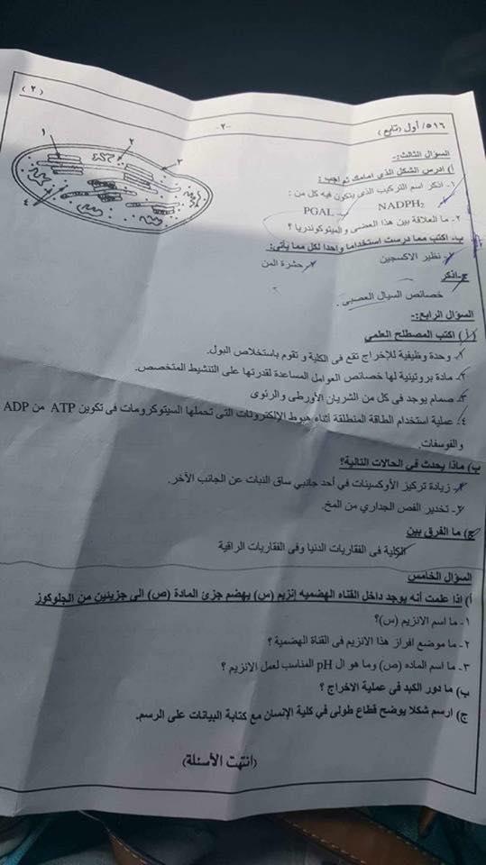 امتحان الاحياء للصف الثانى الثانوى ابناؤنا الخارج السعودية 2017