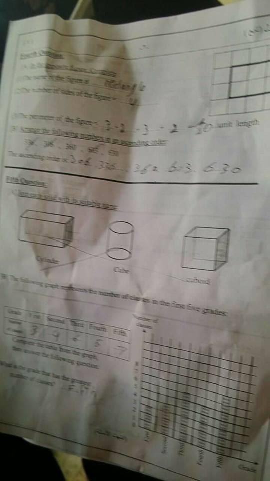 امتحان الماث Math الصف الثانى الابتدائى ابناؤنا الخارج السعودية 2017