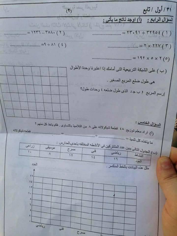 امتحان الحساب للصف الثالث الابتدائى ابناؤنا الخارج السعودية 2017
