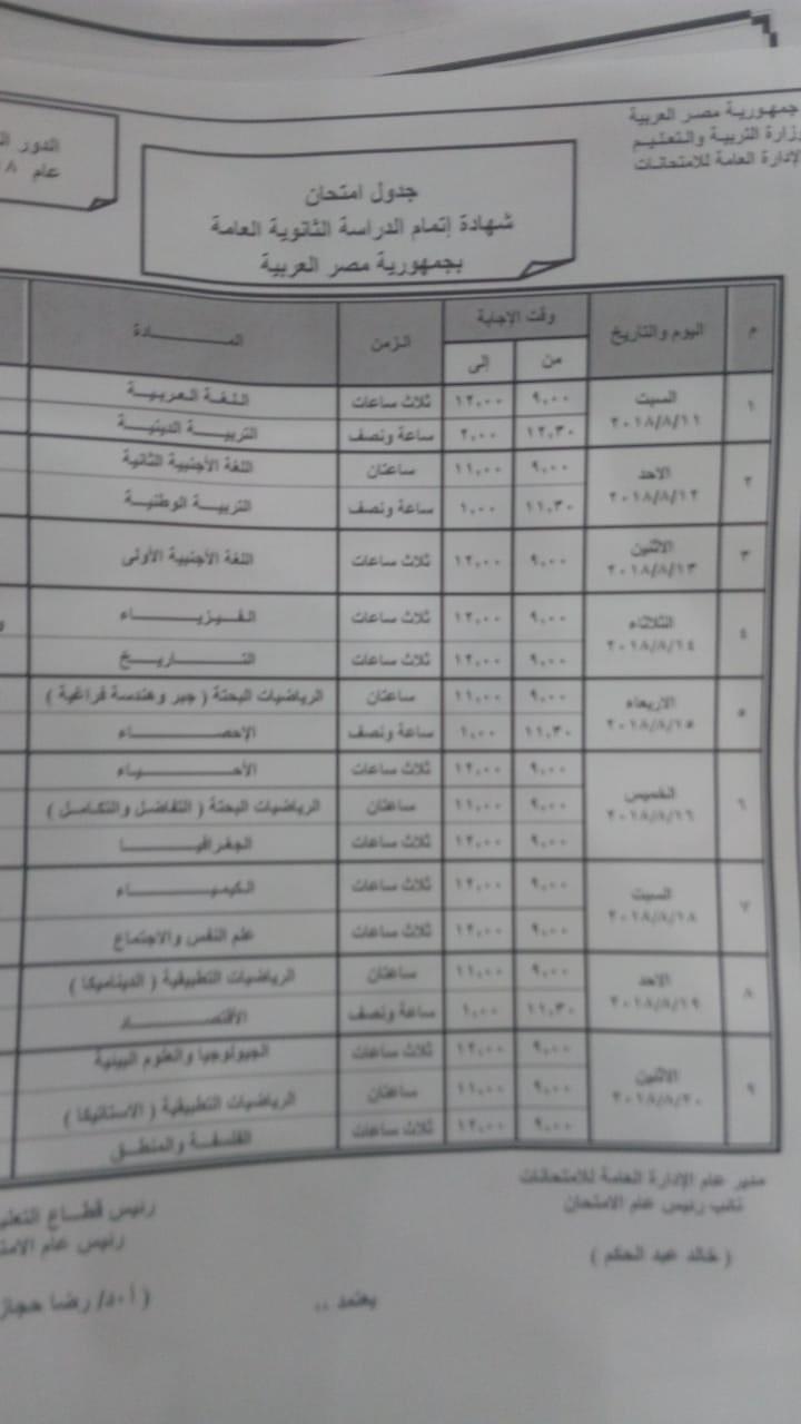 جدول ومواعيد امتحانات الدور الثانى للثانوية العامة 2018