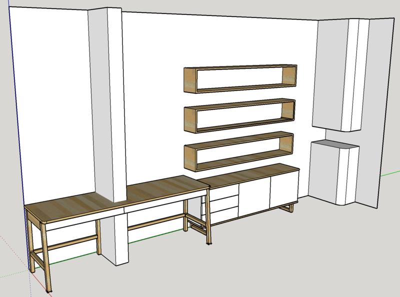 Ensemble bureau meuble bas biblioth que for Ensemble meuble bureau