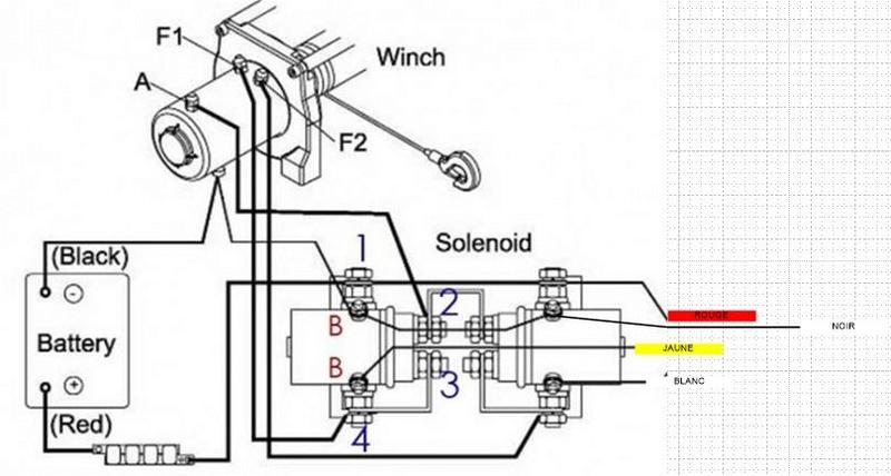 branchement treuil 12v sur relais et batterie