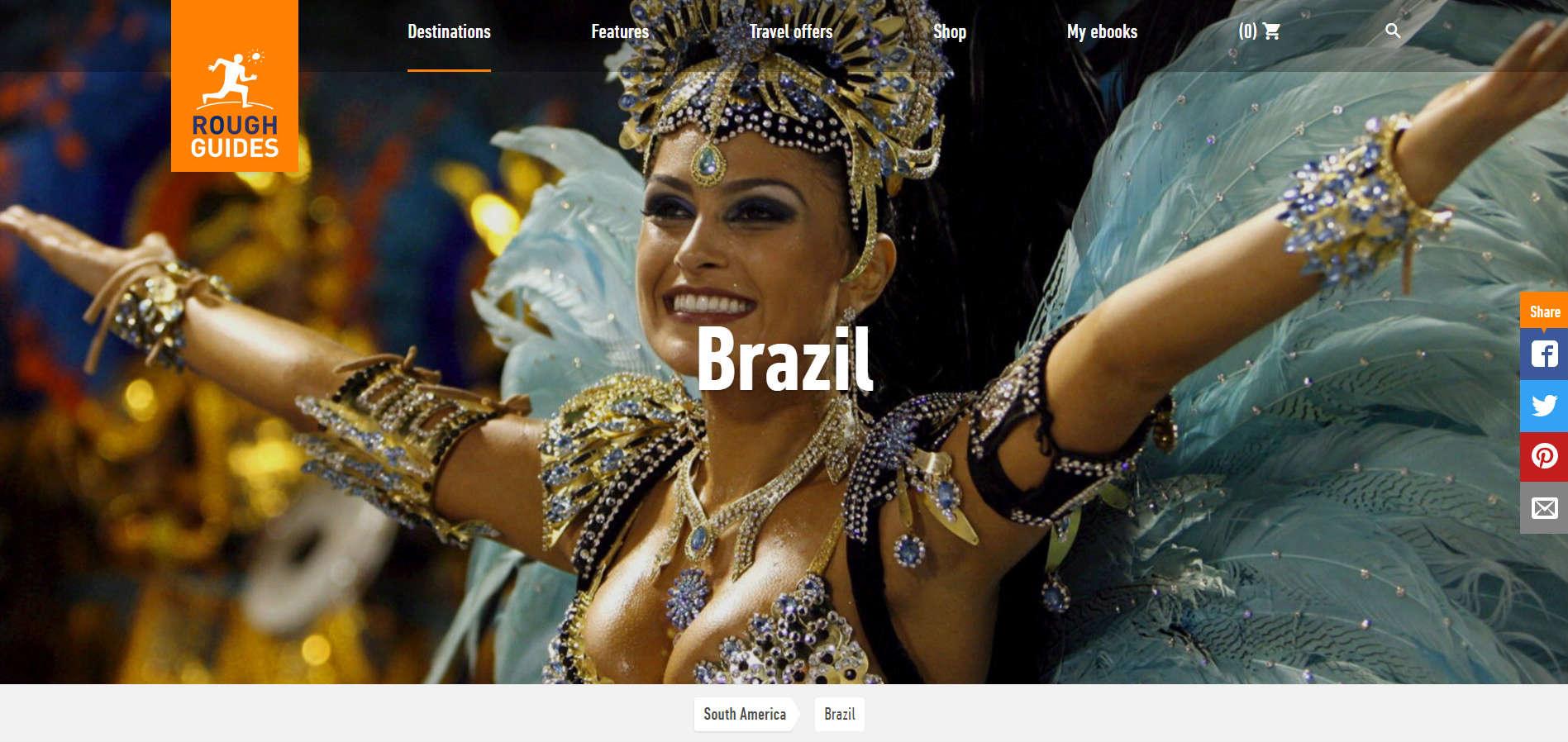 Уеб сайт на Rough Guides Brasil