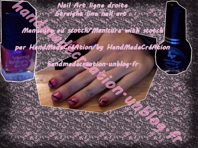 Straight Line Nail Art : Handmadecreation nail art ligne droite straight line