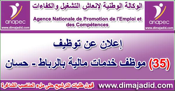 الوكالة الوطنية لإنعاش التشغيل والكفاءات: توظيف 35 موظف خدمات مالية بالرباط - حسان