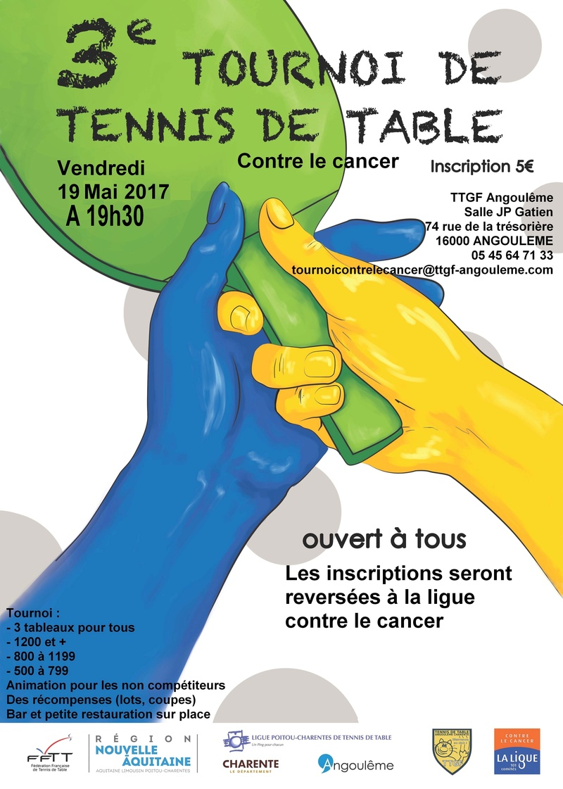 Tournoi de tennis de table pour la ligue contre le cancer - Ligue de tennis de table poitou charentes ...