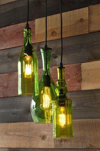 Lampara con envases de vidrio reciclados